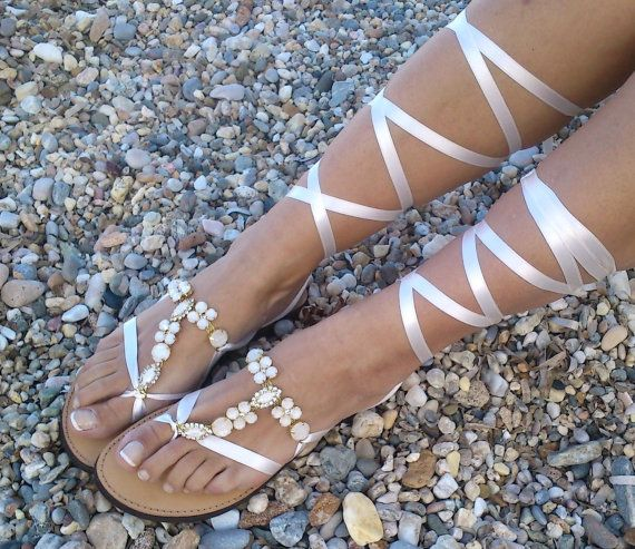 leather sandals with strass bridal shoes by GreekSandalShop, $79.00