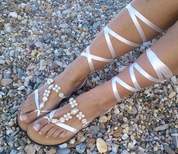 sandales en cuir sandales en cuir avec strass par GrecianSandals