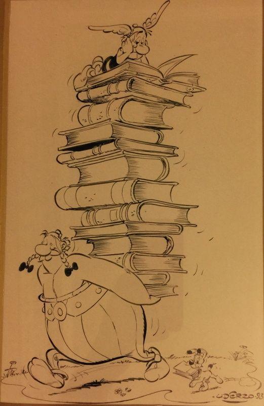 Asterix et Obelix  /  pile de livres par Albert Uderzo - Planche originale