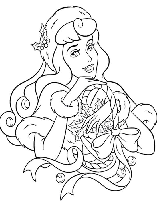 Disney Princess Christmas Coloring Pages For Kids