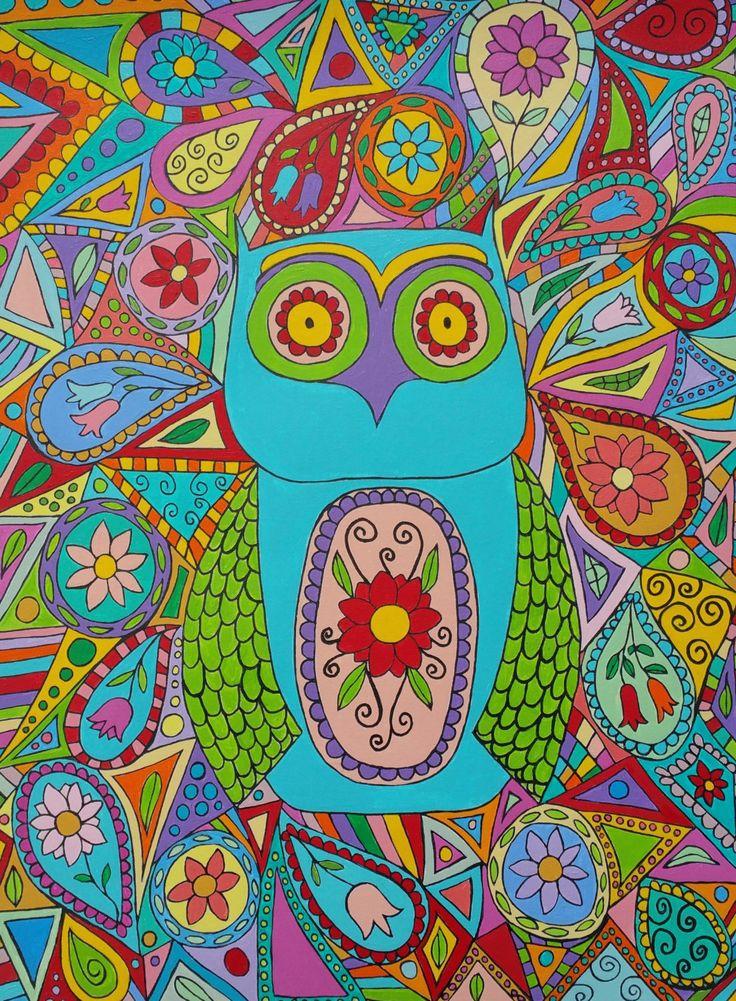 Kerri Ambrosino Mexican Folk Art PRINT Blue Owl Flowers Paisley Modern Birds by kerriambrosino on Etsy