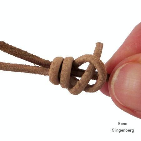 Finishing the knot for Adjustable Sliding Knot Necklace - tutorial by Rena Klingenberg                                                                                                                                                      More