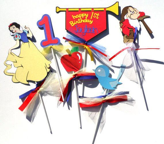 Snow White Disney Princess Theme Centerpiece Stick Set of 6 Personalized With Name & Age with the Dwarf Grumpy