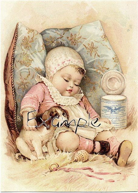 Digital download .Baby sleeping with beagle dog.Adorable.Make greeting cards, gift tags,price tags,use in decoupage, collage,scrapbooks