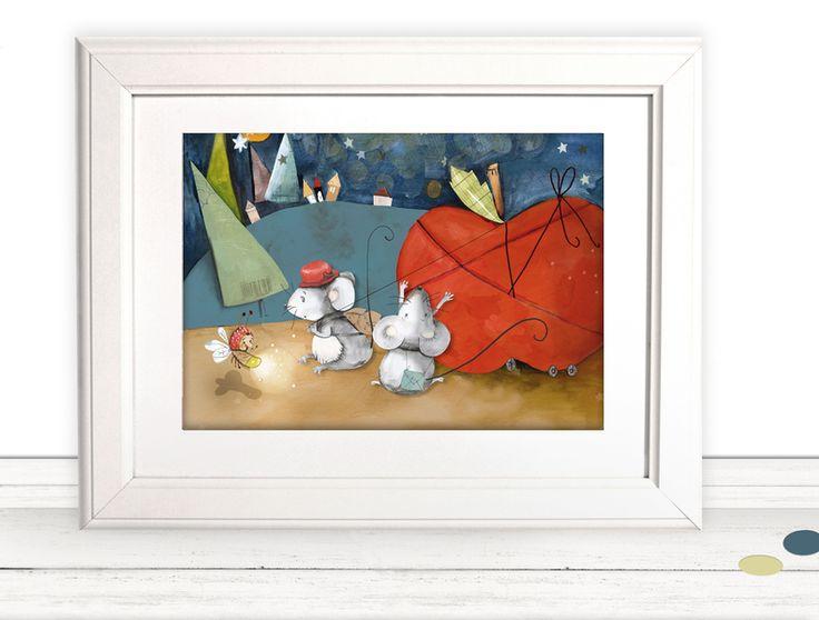 """Bilder - Kinderbild fürs Kinderzimmer """"Mäuse"""" (Poster) - ein Designerstück von pipapier bei DaWanda"""