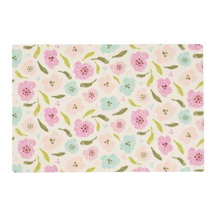 Floral Pattern Mint Pink Off White Placemat - flowers floral flower design unique style