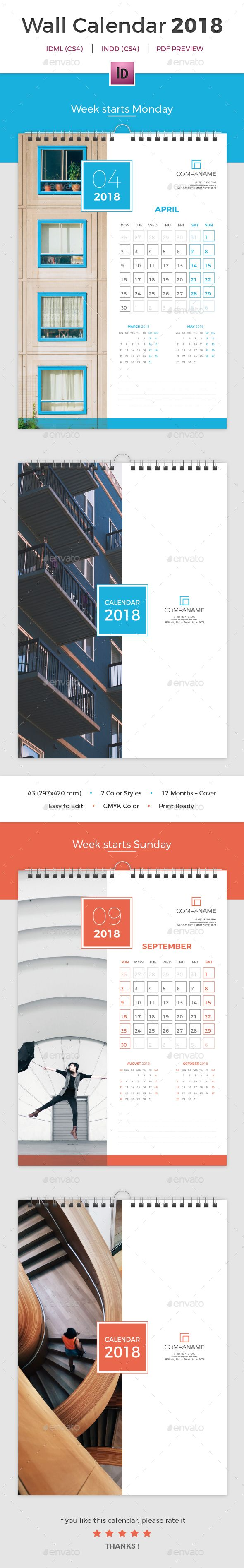 Wall Calendar 2018 Template InDesign INDD - 12 Months + Cover Design