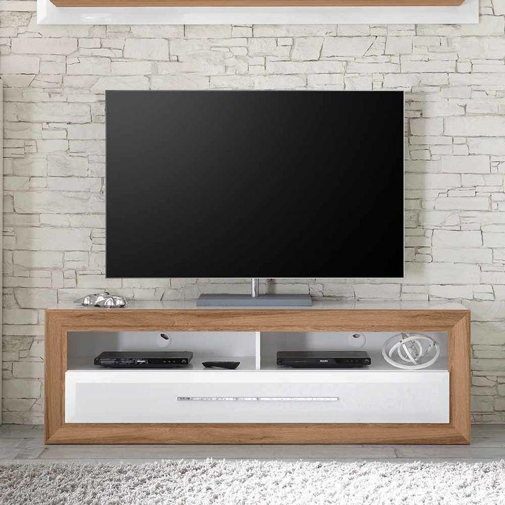 TV Unterschrank In Weiß Hochglanz Eiche LED Beleuchtung Jetzt Bestellen  Unter: Https://moebel.ladendirekt.de/wohnzimmer/tv Hifi Moebel/tv Lowboards/?uidu003d  ...