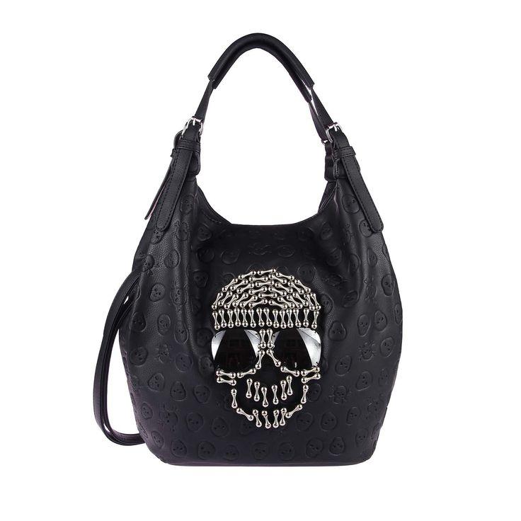 Ladies Skull XXL Bag Rhinestones Glitter Bowling Handbag Shopper XL Synthetic leather suede