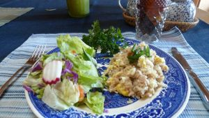 Dave Schrock's Easy Fried Rice or tuna/egg skillet.
