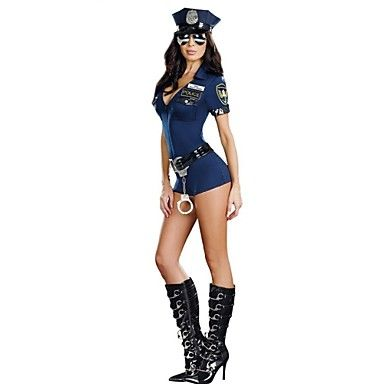 Cosplay Costumes Party Costume Police Career Costumes Festival/Holiday Halloween Costumes Blue Solid Dress Belt Hats Halloween Carnival 5357025 2017 – $20.69