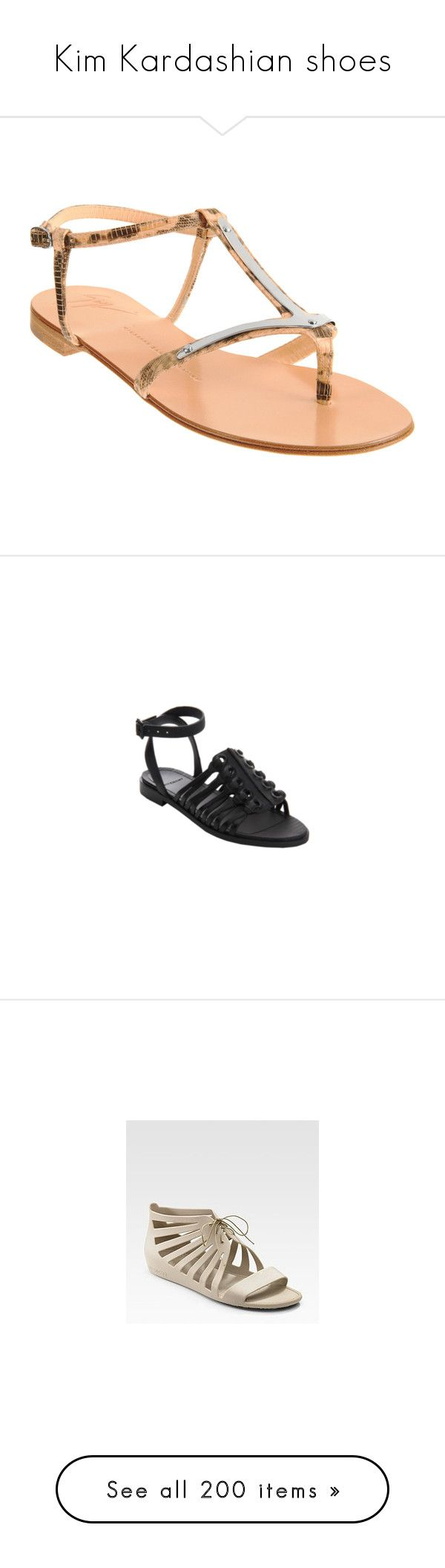 """Kim Kardashian shoes"" by marilia13 ❤ liked on Polyvore featuring shoes, sandals, black white, rubber sandals, givenchy shoes, black white shoes, logo shoes, givenchy sandals, flats and gold croc"