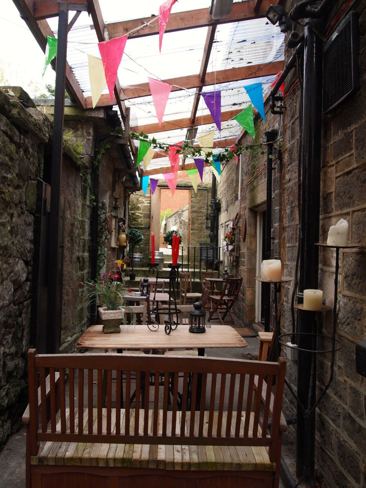 Our covered area lookin' pretty - Matlock, Derbyshire, Peak district, summer, beach, bunting, candles, summer drinks