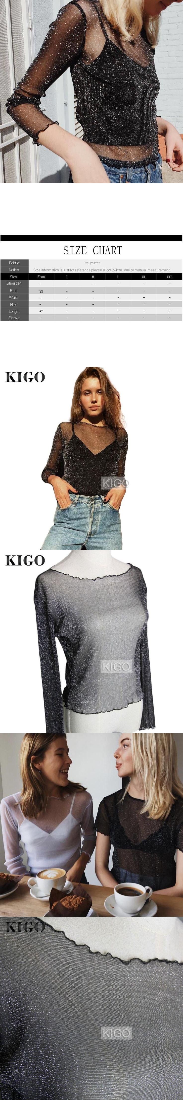 KIGO Summer Women Blouse 2017 Fashion Silver Glitter Top Long Sleeve Sexy See Through Metallic Blouse Women Tops KF0967H