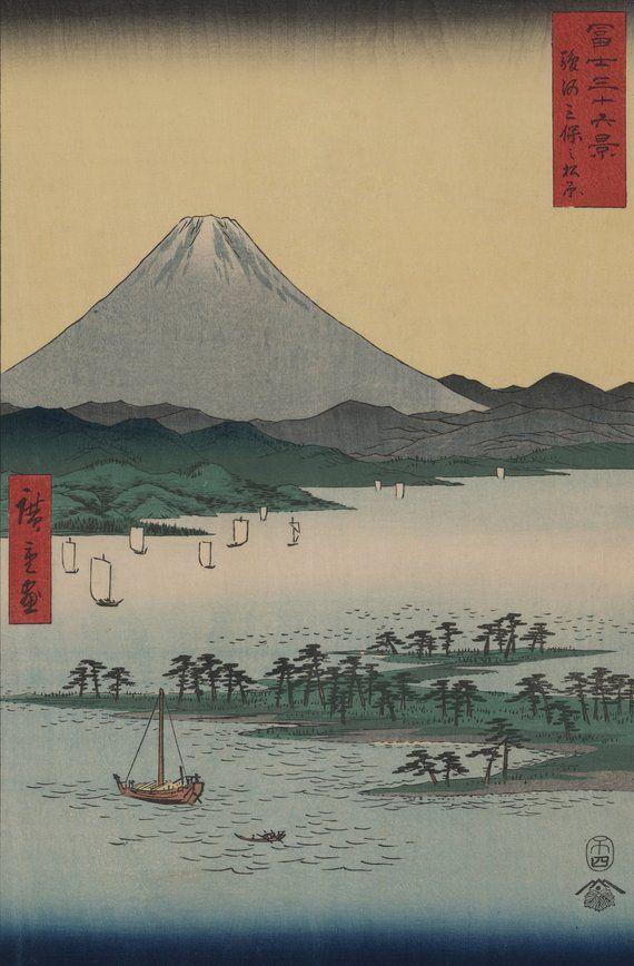 Mount Fuji Woodblock Print Poster Miho Mount Fuji Japanese