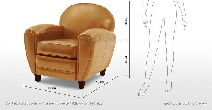 De Jazz Club fauteuil in cognac is een knipoog naar de art-decostijl van de jaren 30.