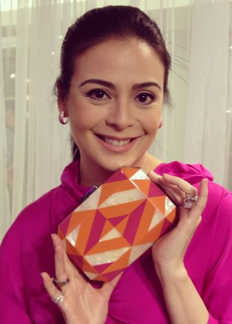 """Filipina actress Dawn Zulueta showing off her Rafe """"Dawn"""" minaudière. available @Rustans in Manila and @Zappos Couture"""