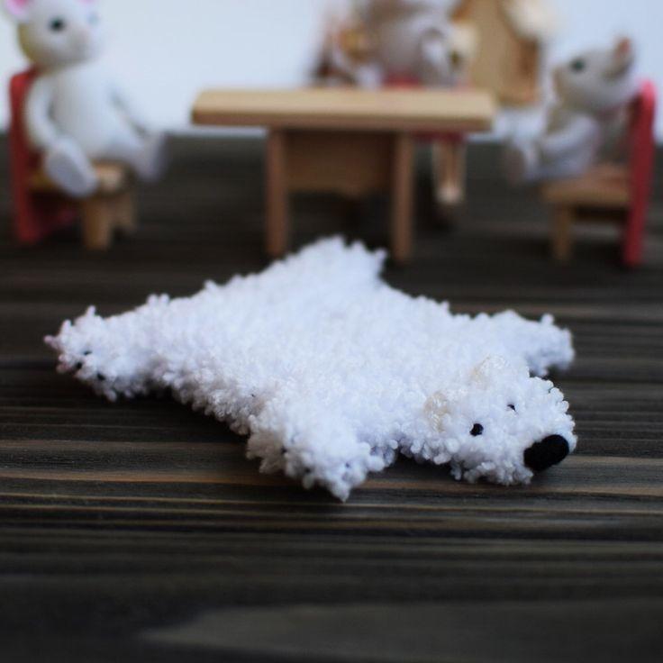 Dollhouse miniature rug White fur rug  Polar bear rug White bear skin rug for dollhouse Miniature bear rug Mini polar bear rug bear fur by Knittybag on Etsy https://www.etsy.com/listing/492066285/dollhouse-miniature-rug-white-fur-rug