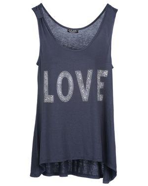 Cocoon Crystal Love Motif Vest Top Grey
