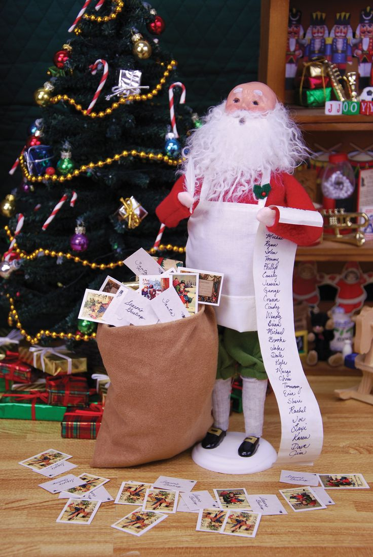 Christmas carolers figurines for sale - Byers Choice Carolers North Pole Collection Bald Santa With Mail Bag Nice And Naughty List Near Christmas Tree