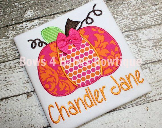 Fall Appliqued Damask Pumpkin Shirt on Etsy, $24.00