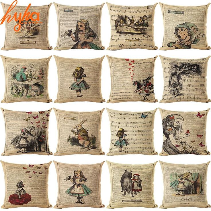 Vintage Cushion Cover Illustration Cushion Rabbit Praiser in Newspaper Alice in Wonderland Retro Home Decorative Pillow Cover - 10 MINUS