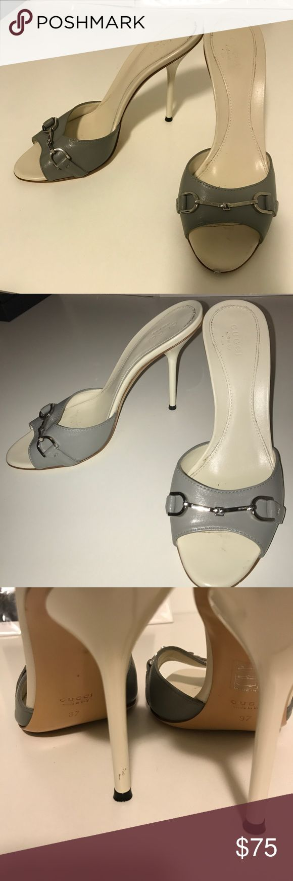 Gucci Horsebit Mule 37 White/Gray Gently worn has nick to front and scratch on heel as shown price refects Gucci Shoes Heels
