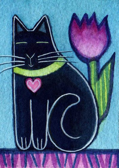 Black Cat Kitten and Tulip Original ACEO watercolor by SusanFayePetProjects, $20.00