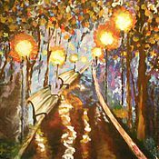 Картины и панно ручной работы. Ярмарка Мастеров - ручная работа Вечерняя аллея. Handmade.