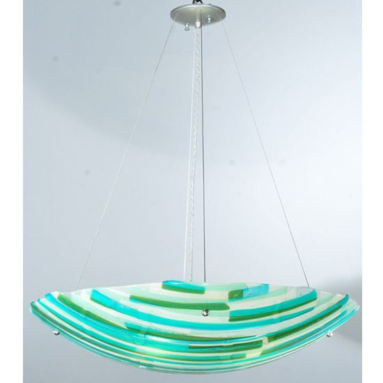 """30 Inch W Metro Fusion La Spiaggia Glass Inverted Pendant - Custom Made. 30 Inch W Metro Fusion La Spiaggia Glass Inverted Pendant Theme:  ART GLASS CONTEMPORARY Product Family:  Metro Fusion La Spiaggia Product Type:  CEILING FIXTURE Product Application:  INVERTED PENDANT Color:  SEA GREEN/AQUA/BEIGE/PATT.IRID 4 X 7/16"""" HOLES Bulb Type: MED Bulb Quantity:  4 Bulb Wattage:  100 Product Dimensions:  22-74H x 30WPackage Dimensions:  NABoxed Weight:   lbsDim Weight:  105 lbsOversized Shipping…"""