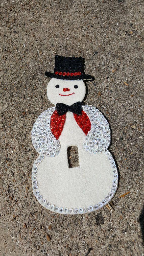Vintage Navidad fieltro muñeco de nieve cubierta de por RSWVintage