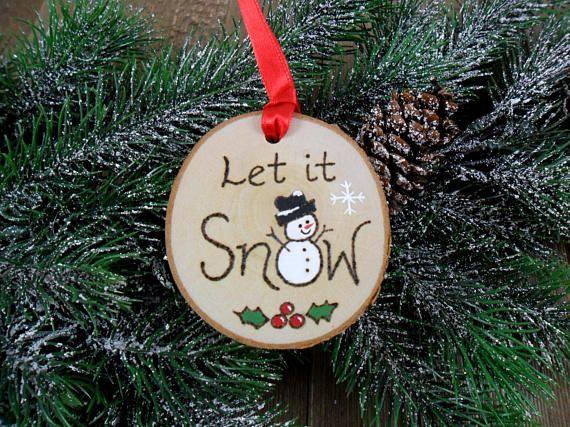 Snowman Let it Snow Wood Burned Birch Slice Christmas Ornament