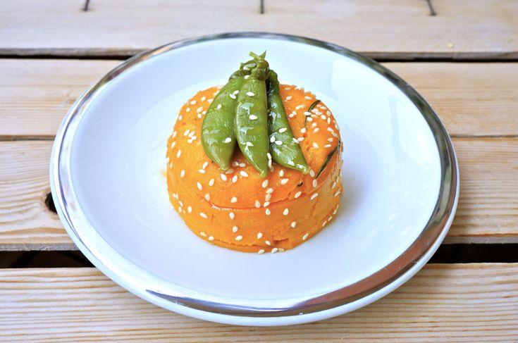 tortini di miglio e piselli con zucca arrosto / millet cake with roasted pumpkin