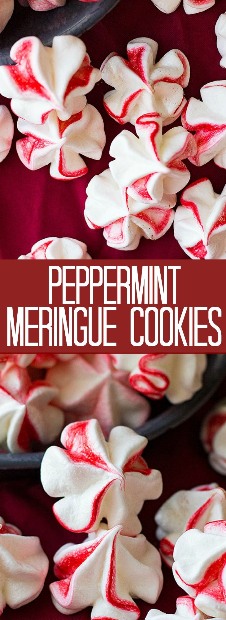 These classic Peppermint Meringue Cookies are perfect for your Christmas cookie tray! They are light and airy and easy to make.
