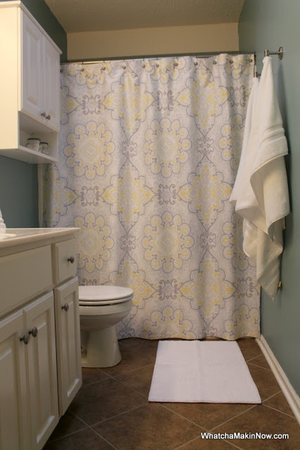 Guest bathroom makeover aqua white gray yellow for Yellow tile bathroom paint colors