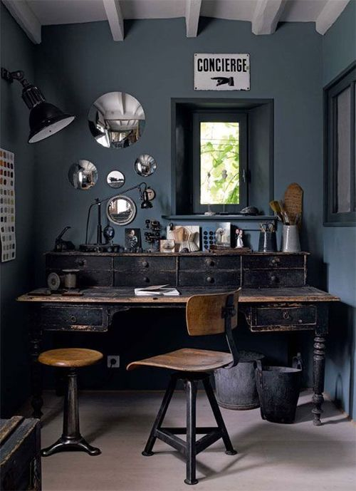 Work place, dark, amazing desk with drawers, industrial, wooden