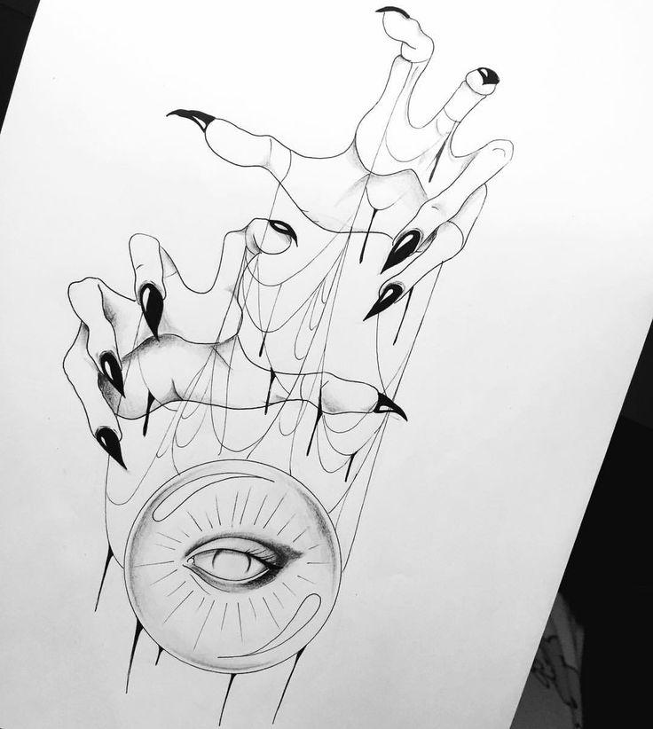 """Mi piace"": 240, commenti: 10 - Dora (@doratattoos) su Instagram: ""Crystal ball  #tattooapprentice #illustration #blackwork_publicity"""