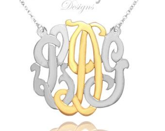 Monogram Necklace Personalized Initial by KetiSorelyDesigns
