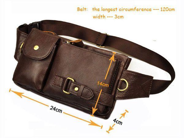 Color : Dark Brown RABILTY Mens Leather Chest Bag Casual Backpack Large Capacity Messenger Shoulder Bag