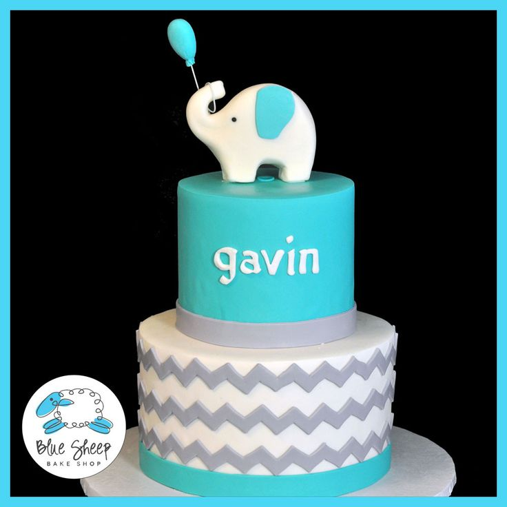 Elephant And Chevron Baby Shower Cake U2013 Blue Sheep Bake Shop