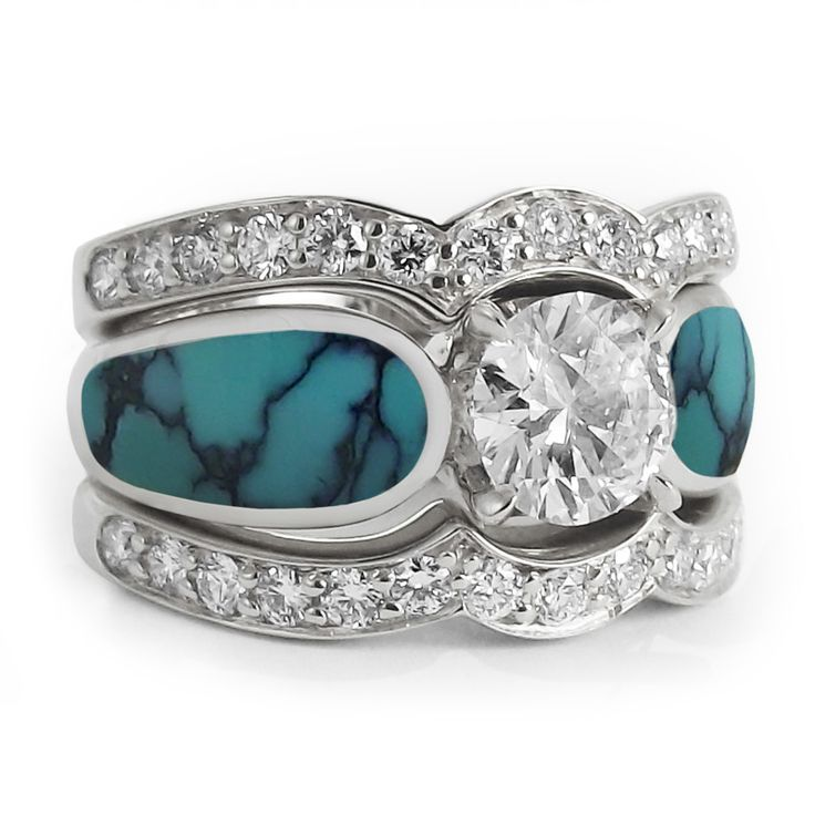 Turquoise Engagement Ring with Two Bands..