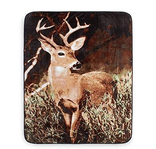 50x60 Grey Brown Animal Throw Blanket Wildlife Cabin Lodge Cottage Forest Theme Bedding Deer Woods Pattern Antlers Hunting Realistic Knit Polyester