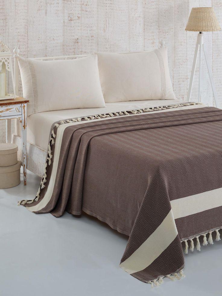 Barna pamut ágytakaró
