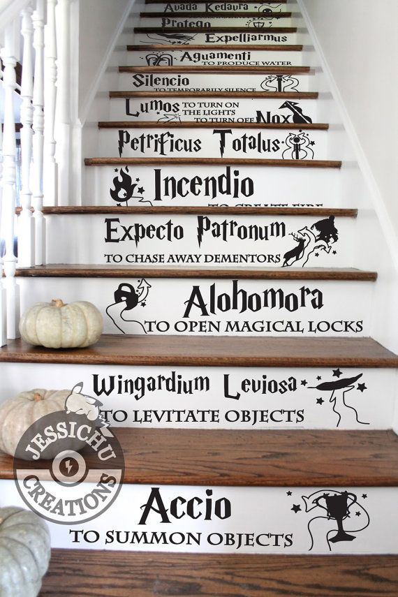 Harry Potter Spells Stairs Vinyl Decal - Home Decor, JK Rowling, Hogwarts, Slytherin, Gryffindor, Magic, Expecto Patronum, Alohomora, Lumos