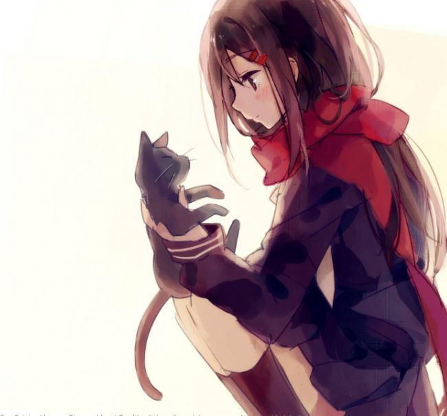 Anime girl holding cat anime pinterest girls - Anime kitty girl ...