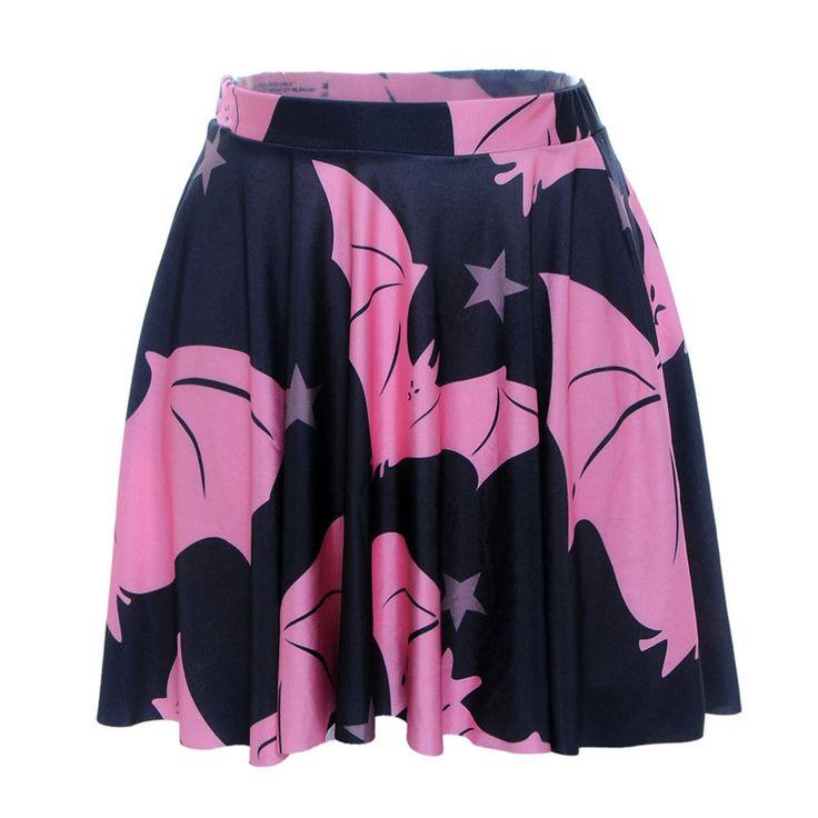 Women Pleated Skirts Pink Bats Digital Printed Pleated Skirts Sport Skirt S-L