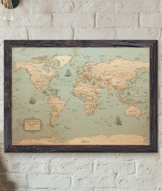 World Map Rustic Style Poster About This Poster