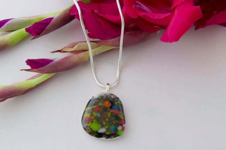 Fused Glass Pendant by TheGlassNeedleco on Etsy