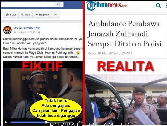 """Berita Islam ! JANGAN Bikin FILM HOAX!!! FIKTIF: JAMAAH PENGAJIAN Hadang Ambulance Non-Muslim FAKTA: POLISI Tahan Ambulance Jenazah ... Bantu Share ! http://ift.tt/2sbwxKq JANGAN Bikin FILM HOAX!!! FIKTIF: JAMAAH PENGAJIAN Hadang Ambulance Non-Muslim FAKTA: POLISI Tahan Ambulance Jenazah  Akun resmi fanpage DIVHUMAS POLRI pada Sabtu 24 Juni 2017 sehari jelang Idul Fitri memposting video film pendek bertajuk """"Kau Adalah Aku yang Lain"""". Video berdurasi 7 menit 41 detik ini menuai kritik keras…"""