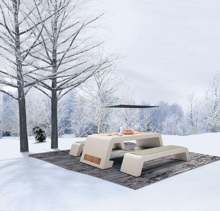 Emperor - meble ogrodowe technorattan zestaw stołowy z ławkami - Twoja Siesta
